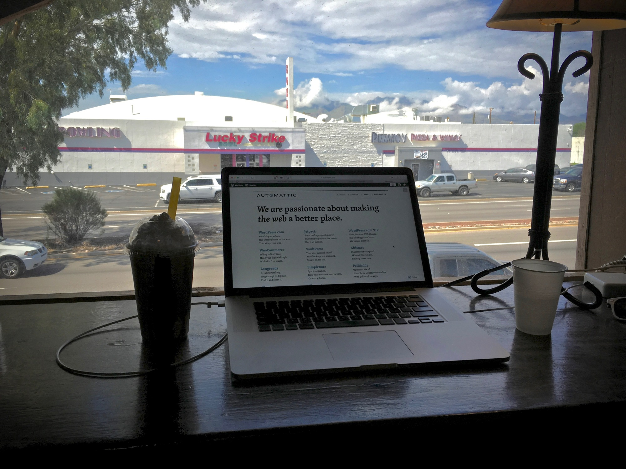 view from the Black Crown café in Tucson, Arizona